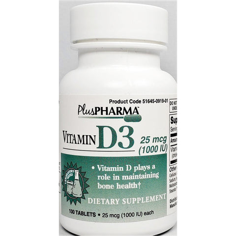 PlusPharma Vitamin D3, 25 mcg (Immune Support), 100 Tablets