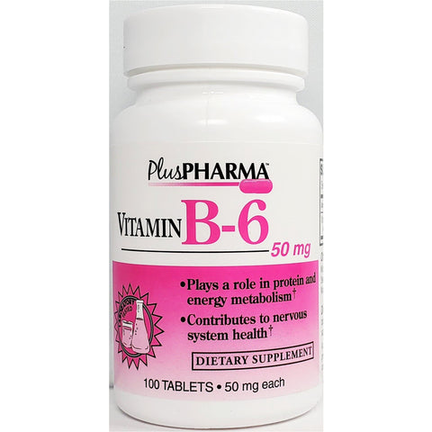 PlusPharma Vitamin B6, 50 mg 100 Tablets