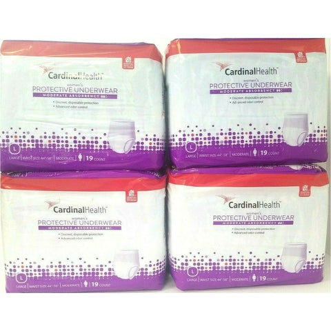 Womens Protective Underwear (Moderate Absorbency) Size L ( 4 Pack) Locker