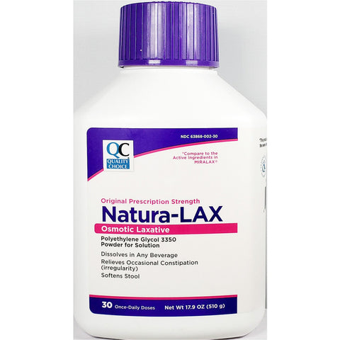 QC Natura-LAX, Polyethylene Glycol 3350, Sugar Free (Compare to Miralax) 17.9 oz