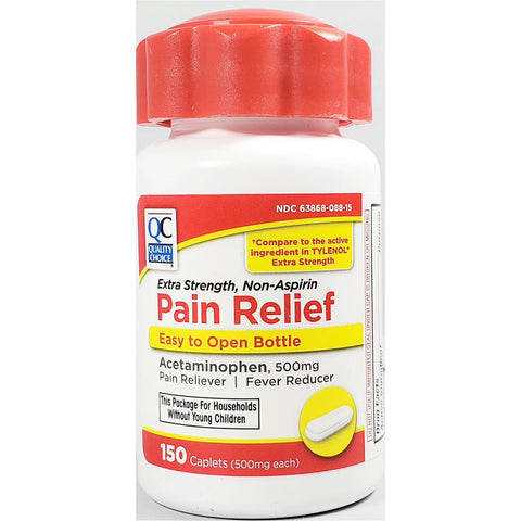 QC Pain Relief, Acetaminophen  500 mg (Compare to Extra Strength Tylenol)  150 Caplets