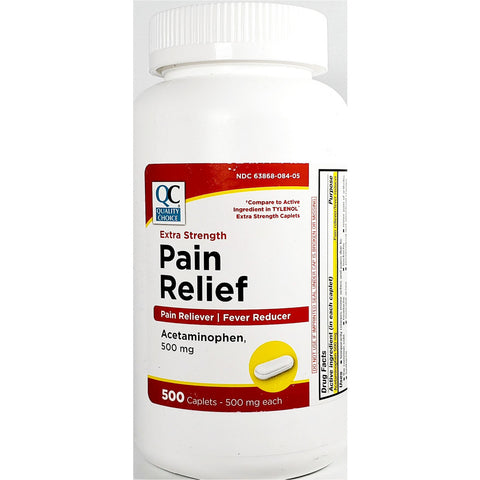 QC Pain Relief Acetaminophen, 500 mg (Compare to Extra Strength Tylenol) 500 Caplets