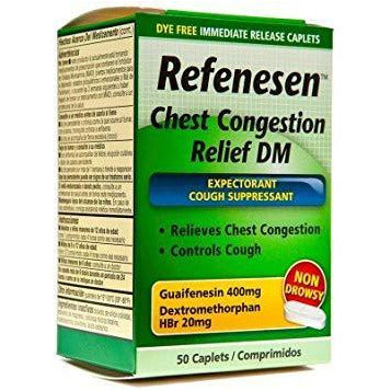 Refenesen Chest Congestion Relief DM, 400 mg, 50 Caplets (1 Pack)