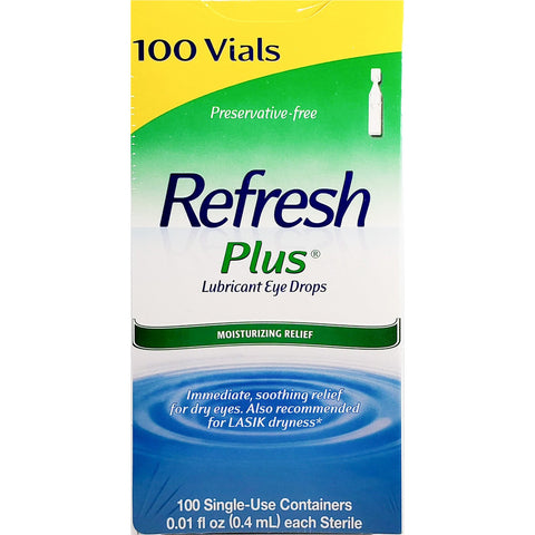 Refresh Plus Lubricant Eye Drops, 0.01 fl oz each 100 Single-Use Containers