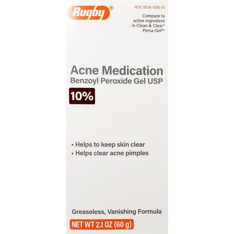 Rugby Acne Medication,10% Benzoyl Peroxide Gel (Compare to Clean & Clear Persa-Gel) 2.1 oz