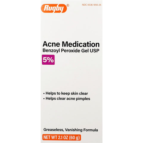 Rugby Acne Medication, 5% Benzoyl Peroxide Gel 2.1 oz