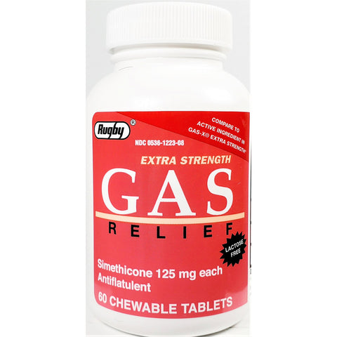 Rugby Gas Relief,125 mg (Compare to Gas-X Extra Strength) 60 Chewable Tablets