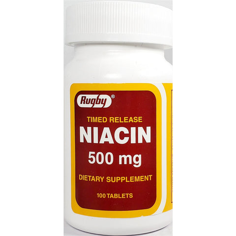 Rugby Niacin Timed Release 500 mg, 100 Tablets
