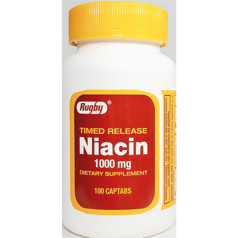 Rugby Niacin (Timed Release) 1000 mg, 100 Captabs