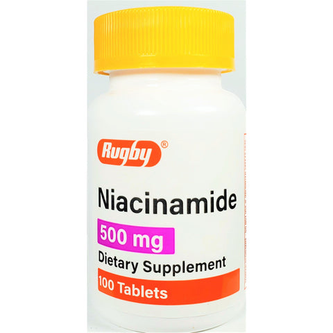 Rugby Niacinamide 500 mg, 100 Tablets