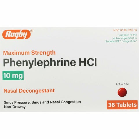 Rugby Phenylephrine HCl, 10 mg (Compare to Sudafed PE) 36 Tablets (1, 3 or 6 Pack)