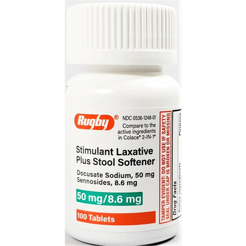 Rugby Stimulant Laxative (Compare to Colace 2 in 1) 100 Tablets