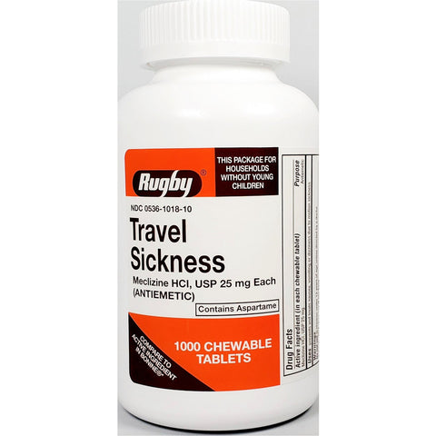 Rugby Travel Sickness Chewable Tablets, 25 mg (Compare to Bonine) 1000 Count