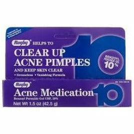 Rugby Acne Medication Gel Benzoyl Peroxide 10% (Compare to Persa-Gel 10) 1.5 oz (1, 3 & 6 Pack)