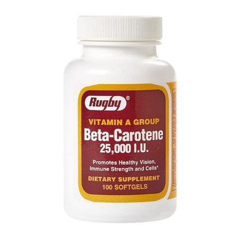 Rugby Beta-Carotene 25,000 IU 100 Softgels (1 Pack)