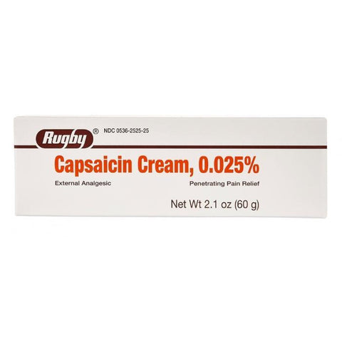 Rugby Capsaicin Cream 0.025% 2.1 oz each (1, 3 or 6 Pack)