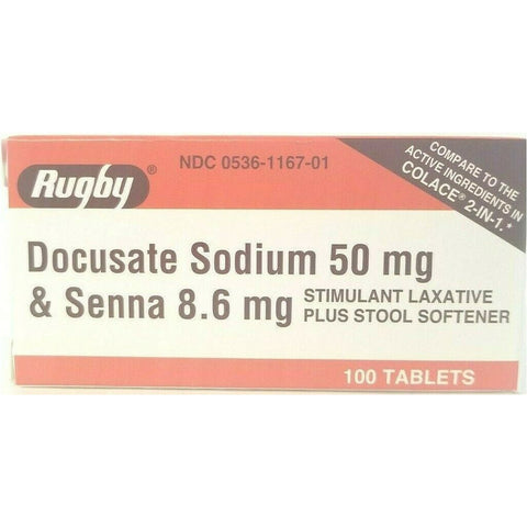 Rugby Docusate Sodium & Senna (Compare To Colace 2 In 1) 100 Tablets Each (1 or 3 Pack) Digestive