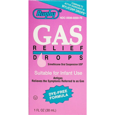 Rugby Gas Relief Drops (Compare To Mylicon Drops) 1 Fl Oz Each (1 Or 3 Pack) Pack Infants & Children