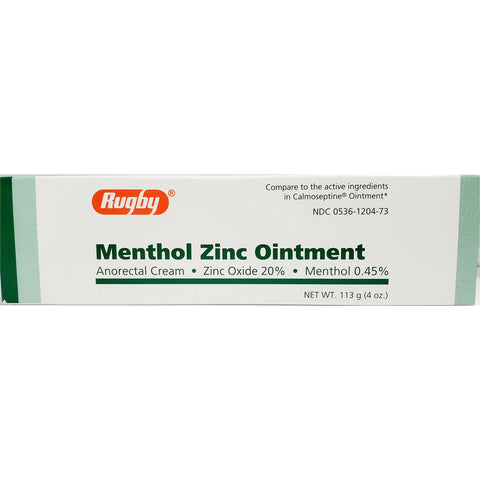 Rugby Menthol Zinc Ointment (Compare To Calmoseptine) 4 Oz Each (1 Or 3 Pack) 1 Pack Skin Protectant