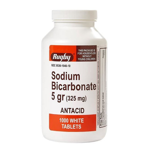 Rugby Sodium Bicarbonate (325 mg), 1000 Tablets (1 Pack)
