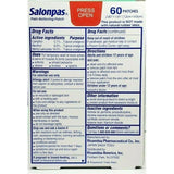Salonpas Pain Relieving Patch 60 Patches Each (1 Or 3 Pack) & Rubs
