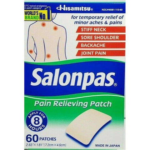 Salonpas Pain Relieving Patch 60 Patches Each (1 Or 3 Pack) 1 Pack & Rubs