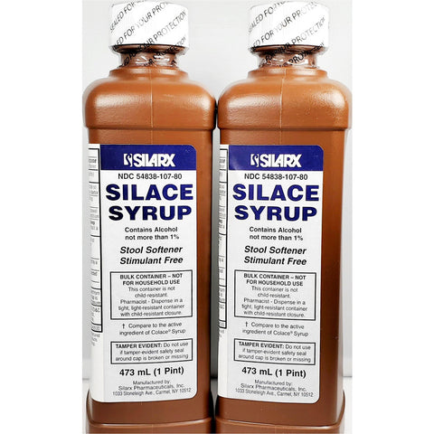 Silarx Silace Syrup (Compare To Colace) 60 Mg 1 Pint Each (2 Pack) Digestive Health
