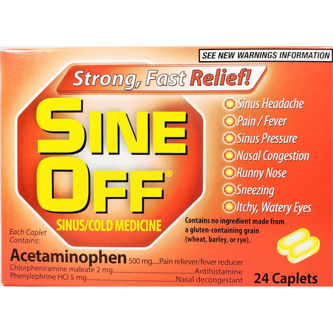 Sine Off, Acetaminophen 500 mg 24 Caplets