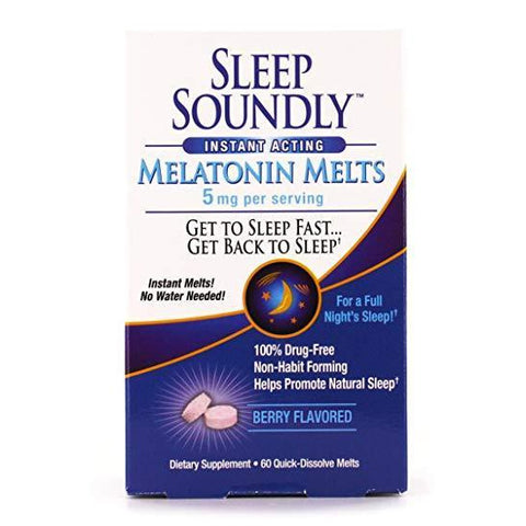 Sleep Soundly Melatonin Melts, Berry Flavor 5 mg 60 Tablets (1 Pack)