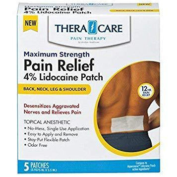 TheraCare Pain Relief 4% Lidocaine Patch (Compare to Aspercreme Lidocaine Patch) 5 Ct Each (1 or 3 Pack)