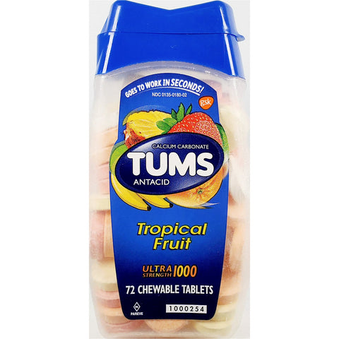 Tums Antacid (Tropical Fruit Flavors), 72 Chewable Tablets