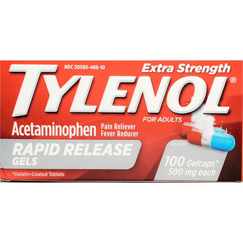 Tylenol Extra Strength 500 mg Each, 100 Rapid Release Gelcaps