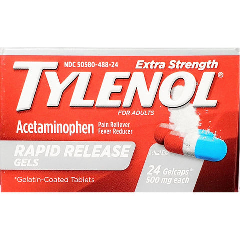 Tylenol Extra Strength 500 mg Each, 24 Rapid Release Gelcaps