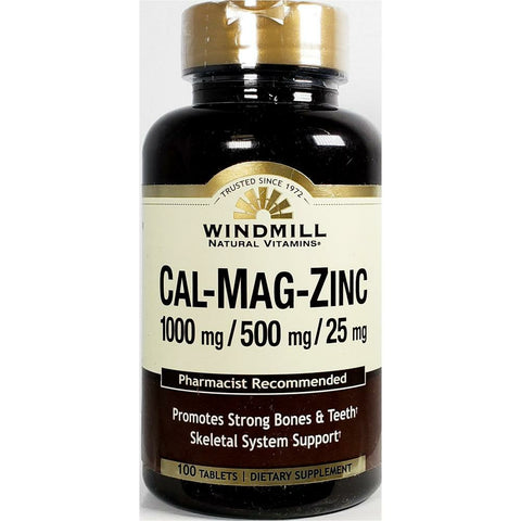 Windmill Calcium 1000 mg, Magnesium 500 mg, Zinc 25 mg, 100 Tablets