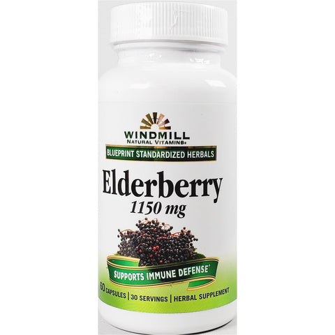 Windmill Elderberry, 1150 mg (Immune Support) 60 Capsules