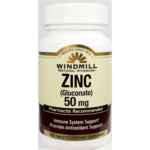 Windmill Zinc Gluconate, 50 mg (Immune Support) 100 Tablets