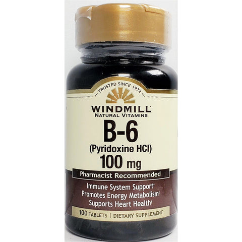 Windmill Vitamin B6, 100 mg 100 Tablets (Immune Support)
