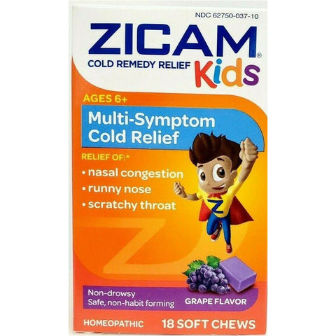 Zicam Kids Multi-Symptom Relief, 18 Soft Chews Grape Flavor (1 or 3 Pack)