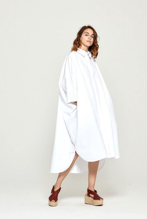 Long Shirt Dress-White - Kendi Boutique