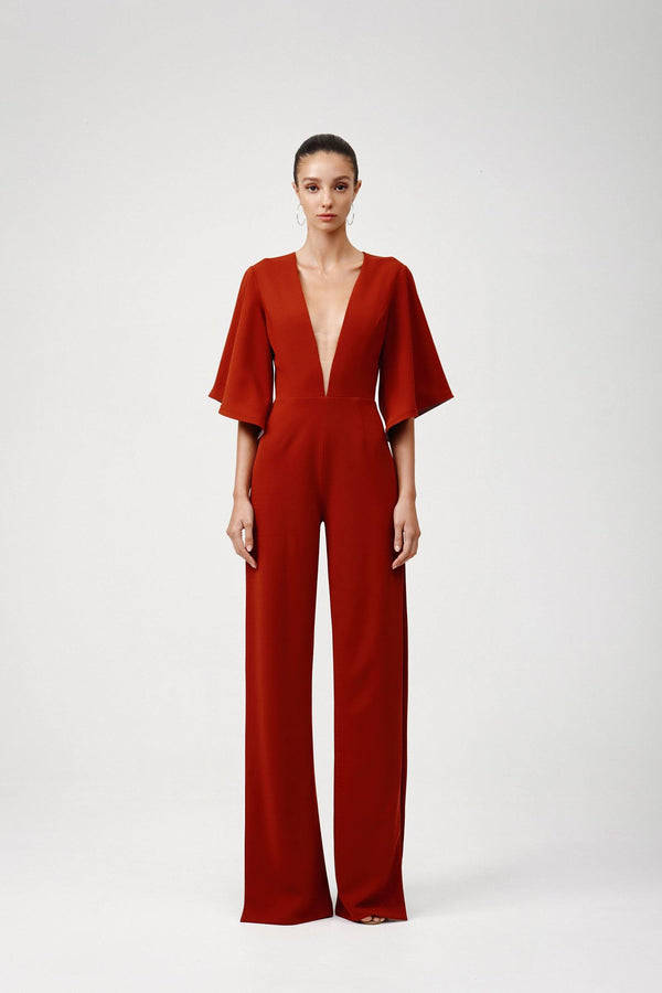 Reyna Jumpsuit-Red Ochre - Kendi Boutique