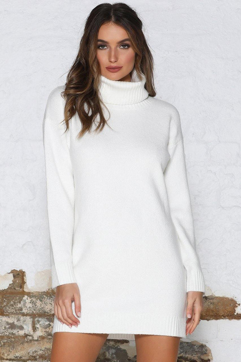 White high neck knit dress sweater