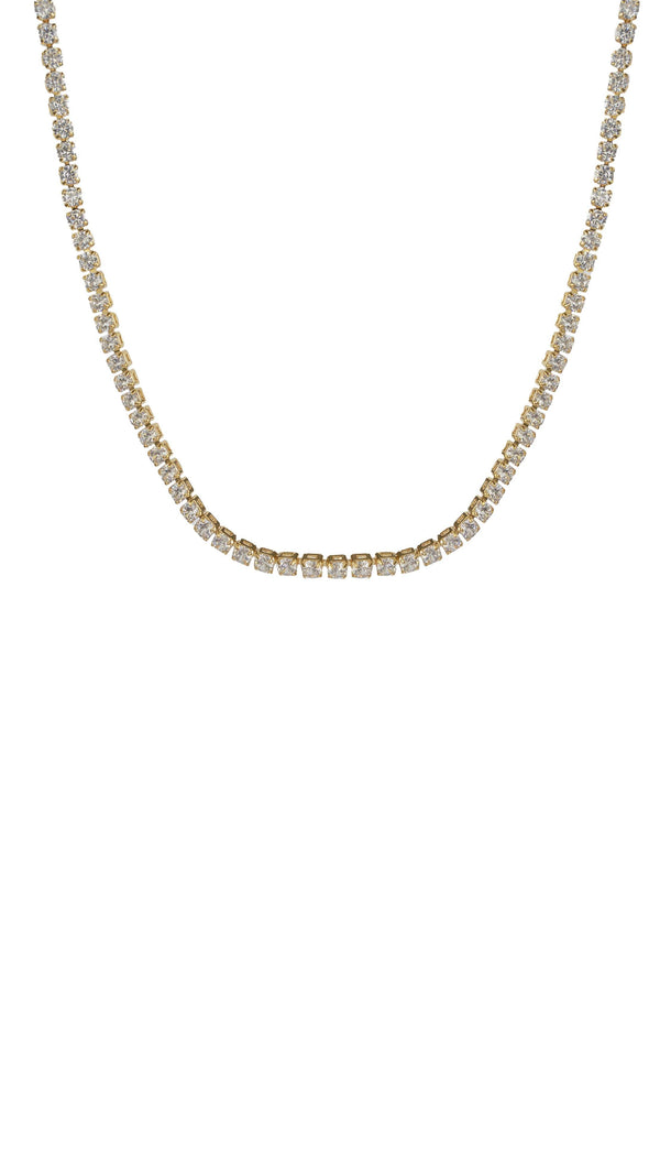 Thin Gold Diamond Choker Necklace