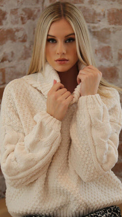 High Neck Cable Sweater