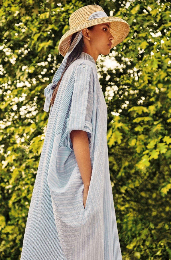 Long Shirt Dress-Stripes