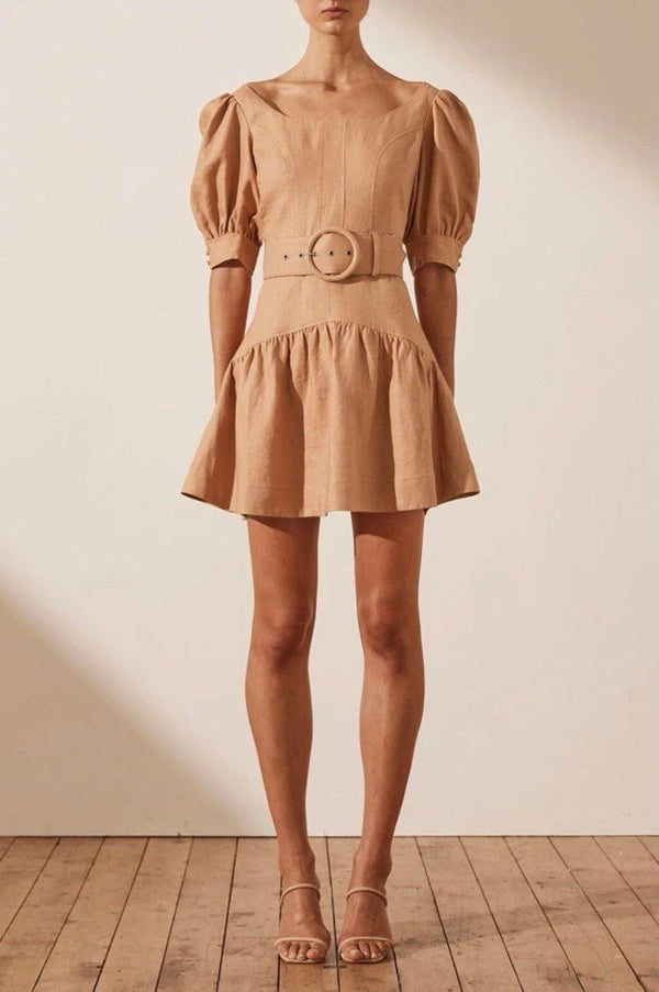 Rosa Linen Mini Dress-W/Belt - Kendi Boutique