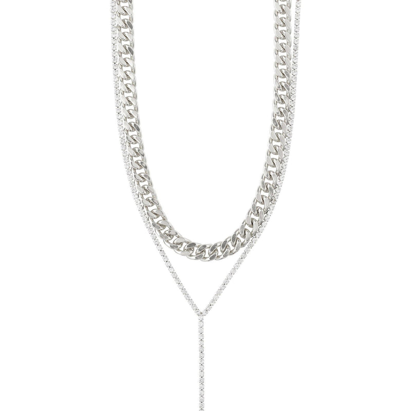 Curb Chain  2-in-1 Necklace-Silver