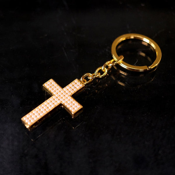 KEYCHAIN CROSS GOLD -25pcs/bag22-523
