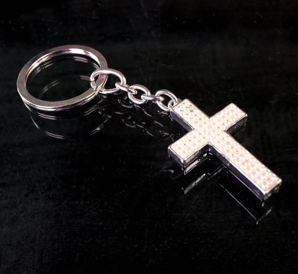 KEYCHAIN CROSS SILVER -25pcs/bag22-524