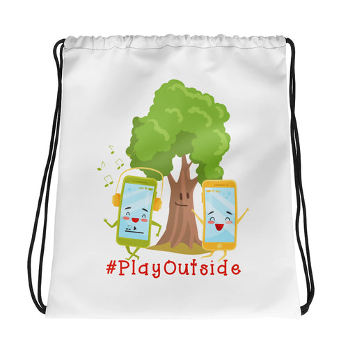 Play Outside Drawstring Bag
