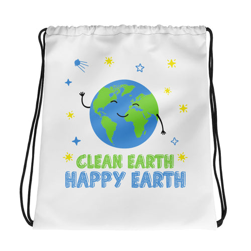 Clean Earth Drawstring Bag